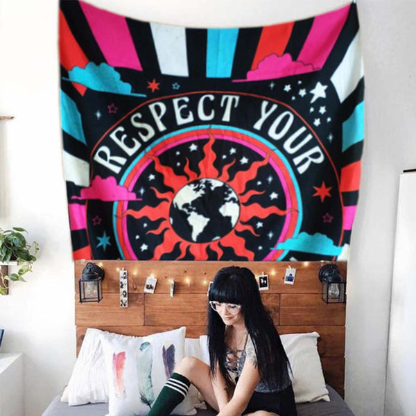 Retro Hippie Wall Tapestry - Respect Your Mother Earth