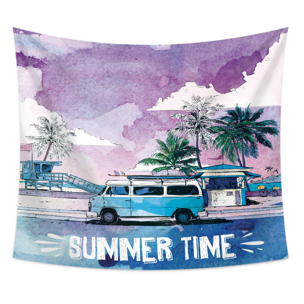 Summer Time Bus Tapestry