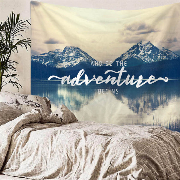 Mountain Landscape Wall Tapestry | Unique Adventure Letter