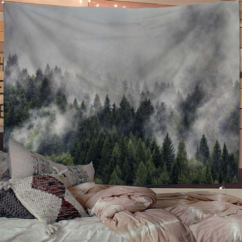Mist Forest Mountain Wall Tapestry