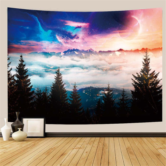 Psychedelic Forest Mountain Wall Tapestry