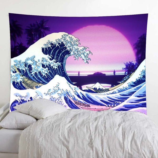 Retro Palm Great Wave Wall Tapestry