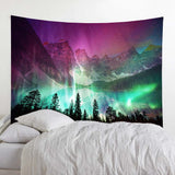 Mountain Lake Forest Aurora Wall Tapestry
