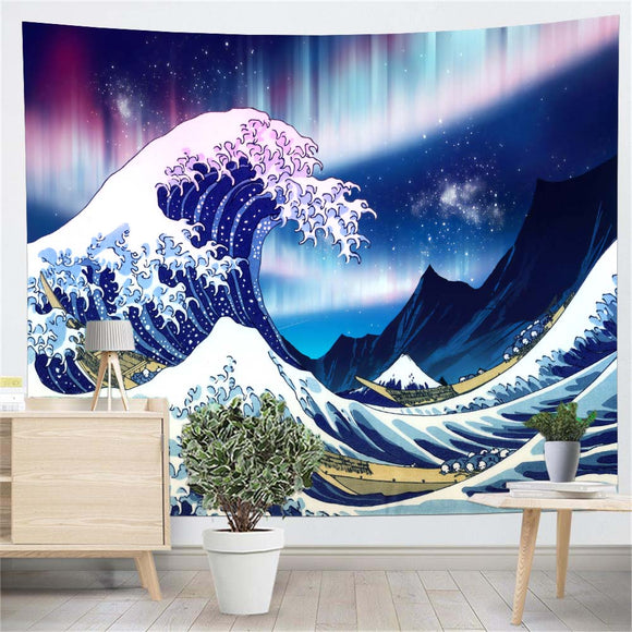 Great Wave Aurora Wall Tapestry