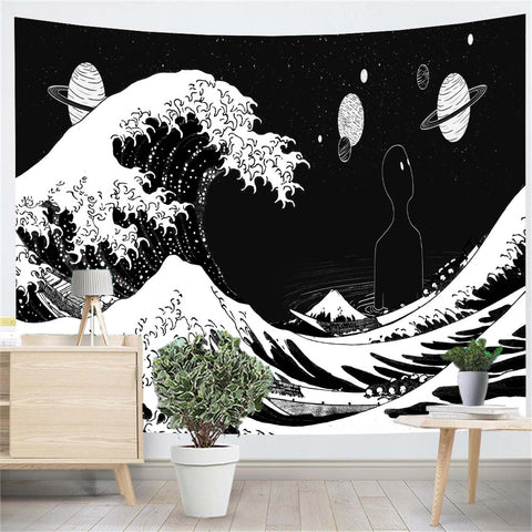 Great Wave Planet Black And White Wall Tapestry