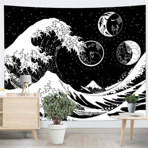 Great Wave Illustration Black And White Wall Tapestry