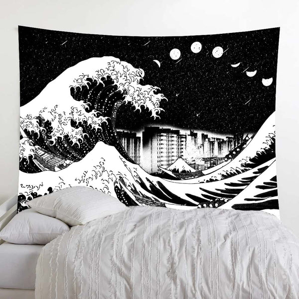 Great Wave City Moon Phase Meteor Black And White Wall Tapestry