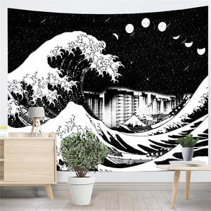 great-wave-city-moon-phase-meteor-black-and-white-wall-tapestry