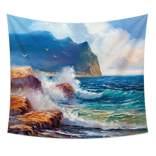 Wave Beach Oil Painting Wall Tapestry