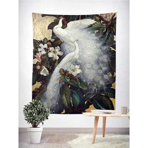 White-Peacock-In-Jungle-Wall-Tapestry