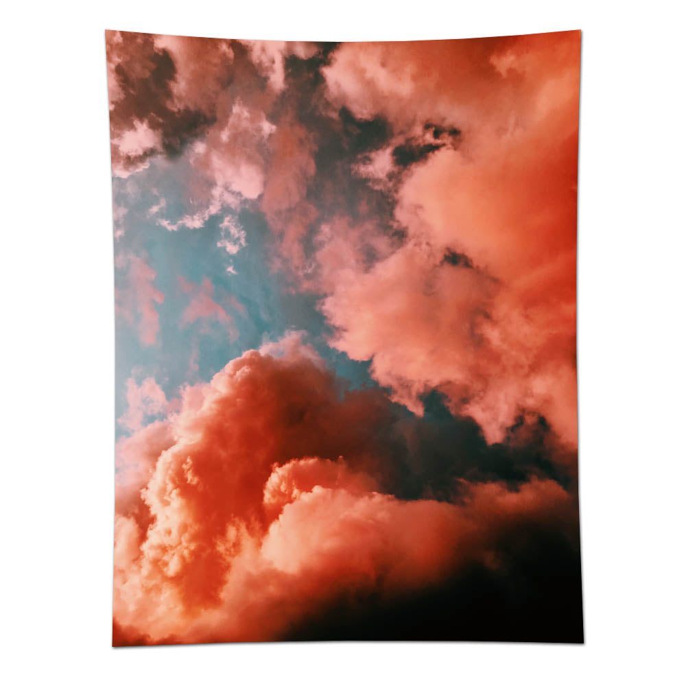 Orange Smoke Cloud Wall Tapestry