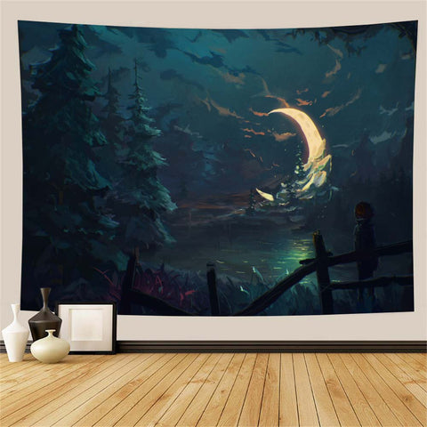 Moon River Forest Tapestry