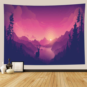 Sunset Forest Deer Tapestry