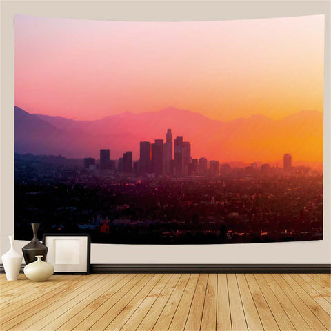 LA City Landscape Wall Tapestry