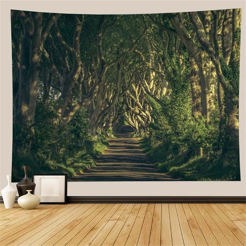 Sunlight Road Trees Tapestry