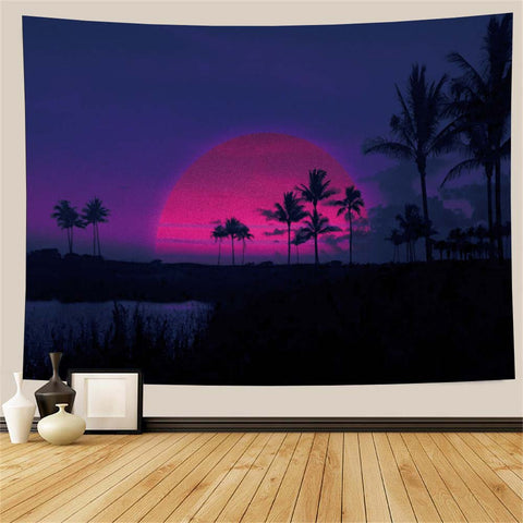 Retrowave Sunset Palm Trees Tapestry