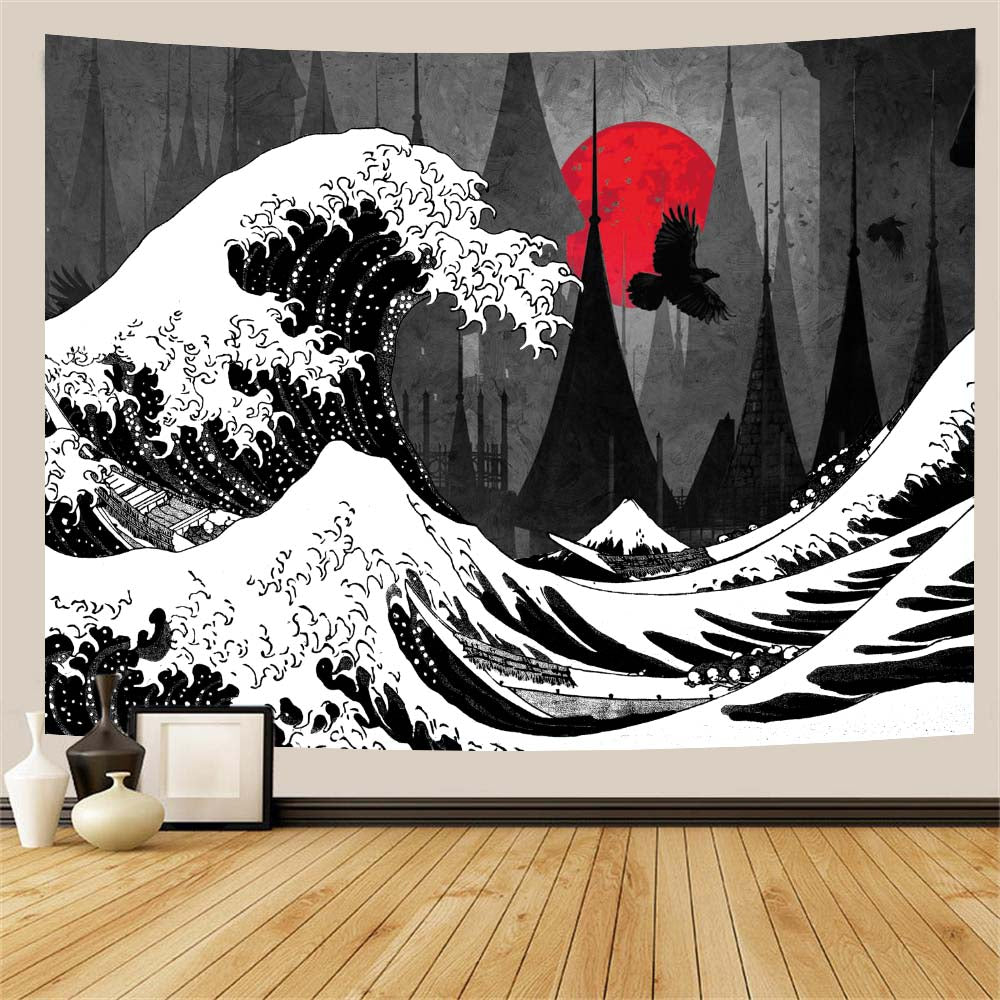 black-and-white-wave-red-moon-tapestry