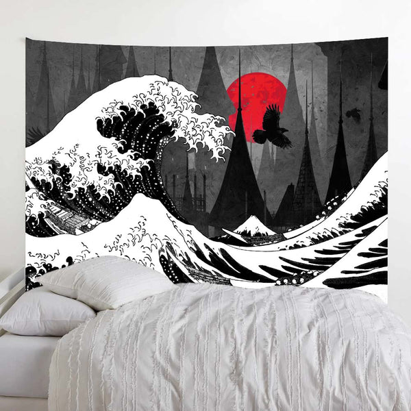 Black and White Wave Red Moon Tapestry