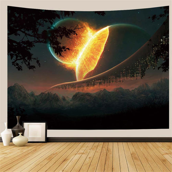 Planet Mountain Wall Tapestry