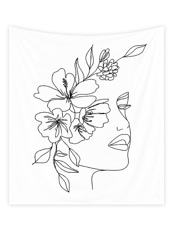 Flower Woman Line Tapestry