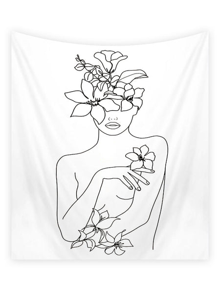 Woman with Flower Line Tapestry