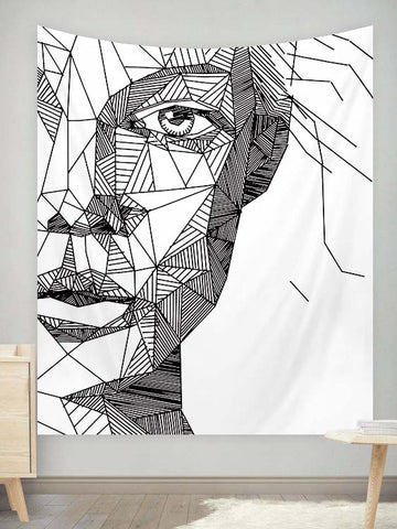 Abstract Face Wall Tapestry