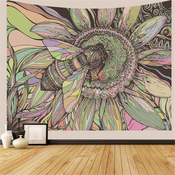 Bee Flower Wall Tapestry