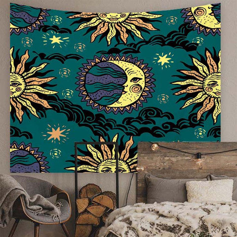 Vintage Sun Moon Astrology Tapestry