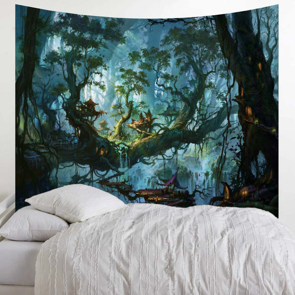 Trippy Forest Landscape Wall Tapestry