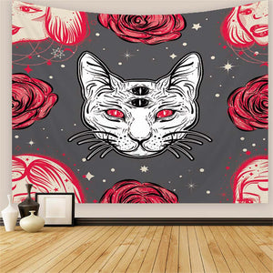 Cat and Roses Tapestry