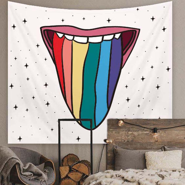 LGBT Rainbow Psychodelic Wall Tapestry