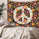 Hippie Peace Flowers Wall Tapestry