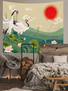 Japanese cranes in the lake at sunset Tapestry