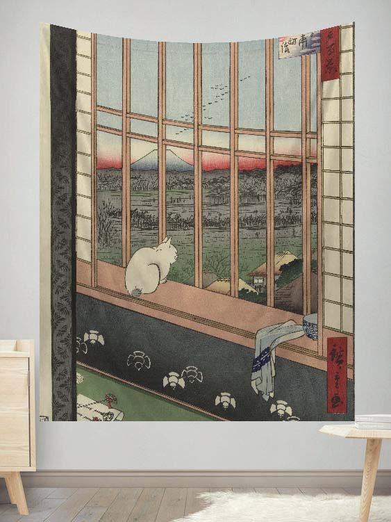 Cat Mountain Japanese Tapestry