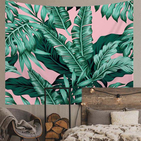 Tropical Green Leaves Pink Tapestry