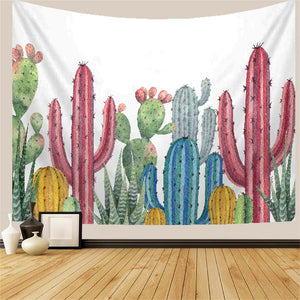 Watercolor Cactus and Succulent Plants Tapestry