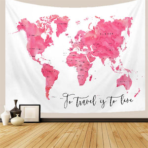 World Map Pink Watercolour Tapestry