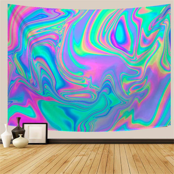 Iridescent Marbled Pastel Trippy Tapestry