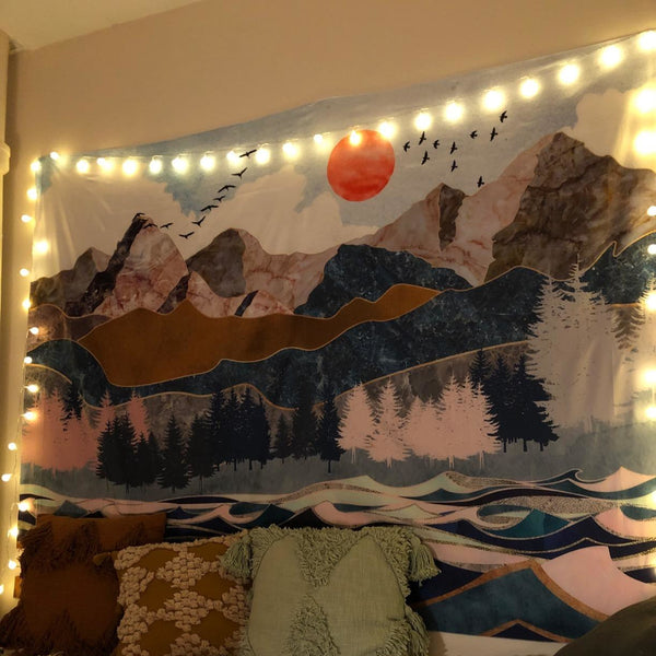 Abstract Mountain Sea Tapestry