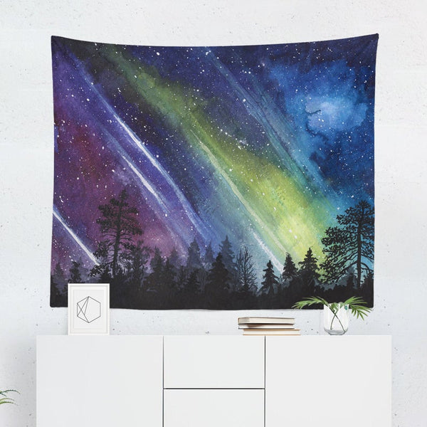 Aurora and Forest Tapestry