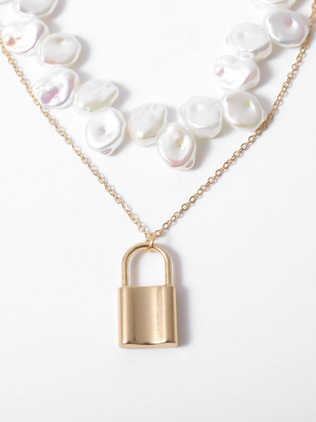 Baroque Pearl Lock Layered Necklaces Pendant Choker