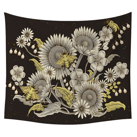 Bee Sunflower Wall Tapestry