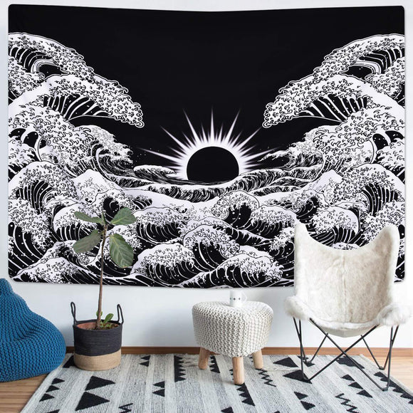 black-and-white-great-wave-sun-wall-tapestry