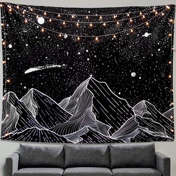 Black And White Mountain Meteor Wall Tapestry
