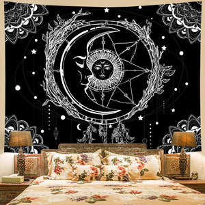 Black And White Sun Moon Tapestry
