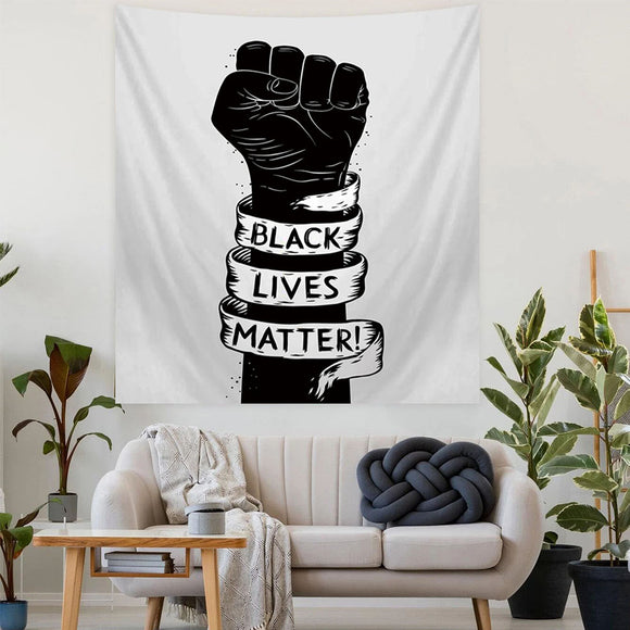 Black lives matter and with raised fist Tapestry