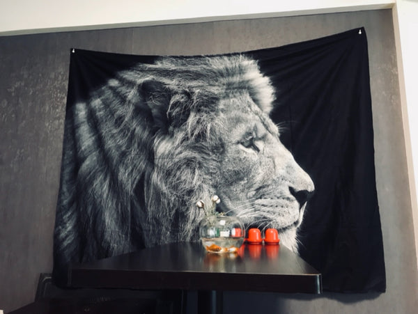 Black Lion Tapestry Animal | Back To School Dorm Wall Decor - PYHQ