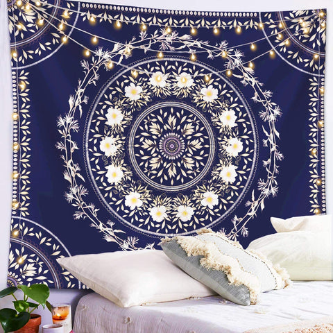 Blue Floral Medallion Tapestry