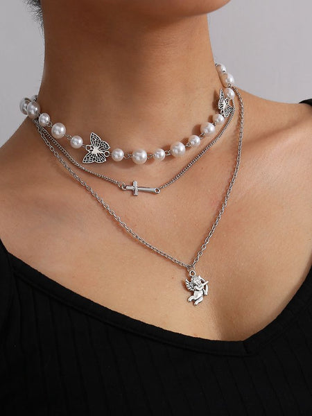 Butterfly Angel Pearl Cross Layered Necklace Pendant Choker