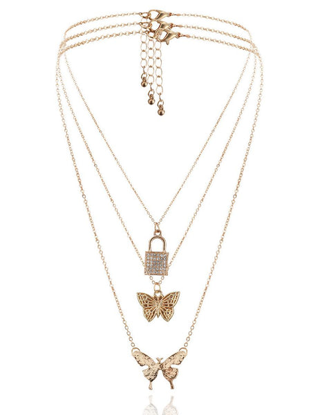 Butterfly Lock Layered Necklaces Pendant Choker
